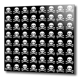 Skull and XBones in Black and White (Medium)