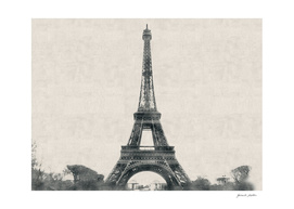 Eiffel Tower, Paris, France - Carcoal Drawing