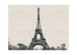Eiffel Tower, Paris, France - Carcoal Drawing
