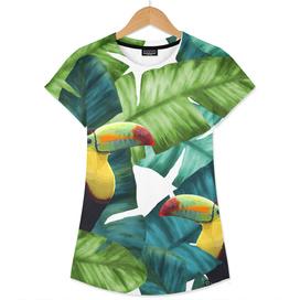 Toucans Tropical Banana Leaves Pattern