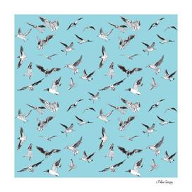 seagull blue pattern
