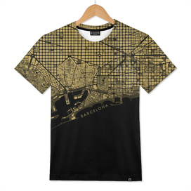Barcelona city map gold
