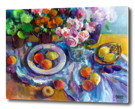 Still life with flowers & fruits