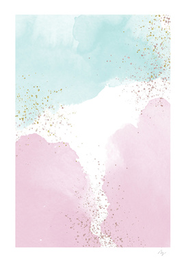 Sparkling Watercolour Clouds - Rose Mint
