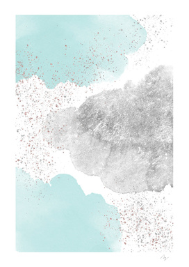 Sparkling Watercolour Clouds - Silver Mint