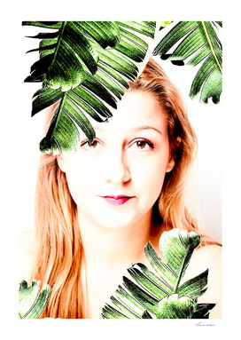 woman and green leaves