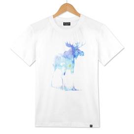 Blue Watercolor Moose