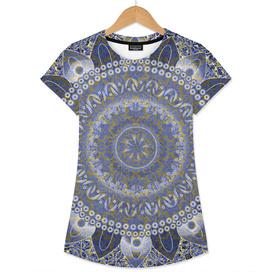 Golden Cornflower Blue Mandala