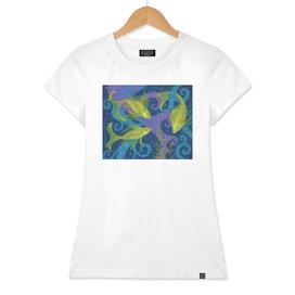 Golden Fish, Underwater Art Blue Purple Yellow