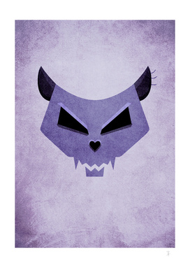 Purple Evil Cat Skull