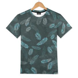 Tropical Leaf Pattern - Dark Blue & Grey