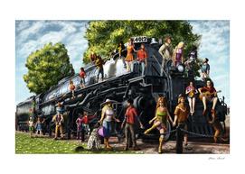 Starliw Friends on the Big Boy Locomotive