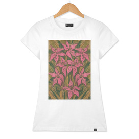 Pink Lilies, Lily Flowers Abstract Botanical Floral Painting