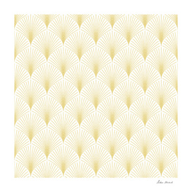 Gold and white art-deco geometric pattern