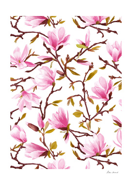 Pink Magnolia Spring Blossom Seamless Pattern