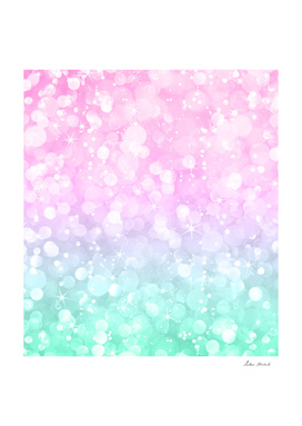 Pastel Pink & Green Sparkly Bokeh Glitter