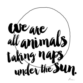 We are all animals taking naps under the sun