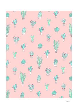 Little Succulent Pattern on Pastel Pink