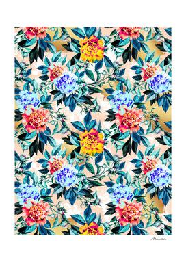 Flowery pattern with golden brushstroke