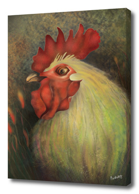 DonPedro - a White Rooster  - a mood booster_by CraftiesPot