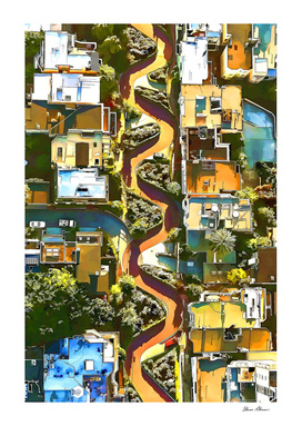 Aerial View of LOMBARD STREET San Francisco Californi