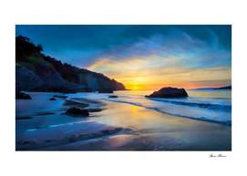 Sunset on the Pacific at China Beach near San Francis