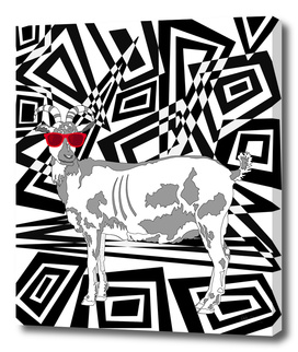 Goat In Red Sunglasses Abstract