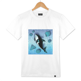 ORCA WHALE  ON ABSTRACT SEA