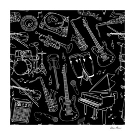 White Sketches of Musical Instruments on Black Back