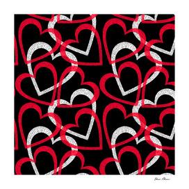 Scattered Red & White Ornate Filigree Hearts on Black