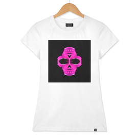 psychedelic pink skull face portrait with black background