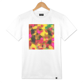 psychedelic geometric polygon abstract in pink yellow green