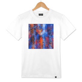 psychedelic geometric polygon abstract in orange blue red