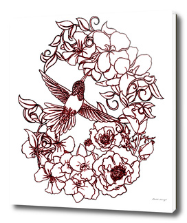 Flowers Surrounding Hummingbird a