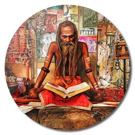 Sadhu monk meditating
