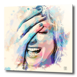 Woman laughing painting watercolor