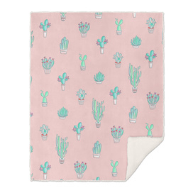 Little Succulent Pattern on Pastel Pink