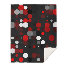 Black red white and gray polka dot