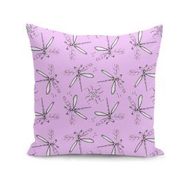 Dragonfly Sketches Pattern On Violet Back