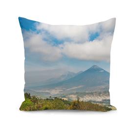 View of volcanos Agua, El Fuego and Aconcagua in Guatemala
