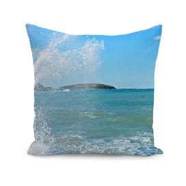 Big wave on the blue sea