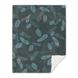 Tropical Leaf Pattern - Dark Blue & Grey