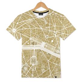 Paris city map gold