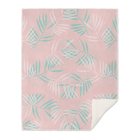 Palm Leaves Lace Pattern on Pale Pink