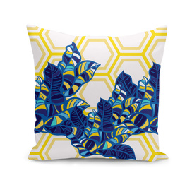 Geo Pop Foliage Pattern - Blue & Yellow / Disk