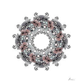 Mandala Flower – Peónia on white background