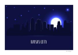 Kansas city skyline silhouette at night