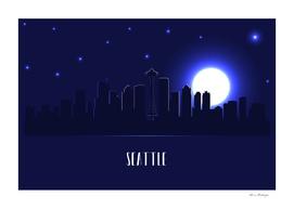 Seattle skyline silhouette at night