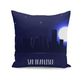 San Francisco skyline silhouette at night