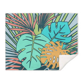 tropical leaves blue